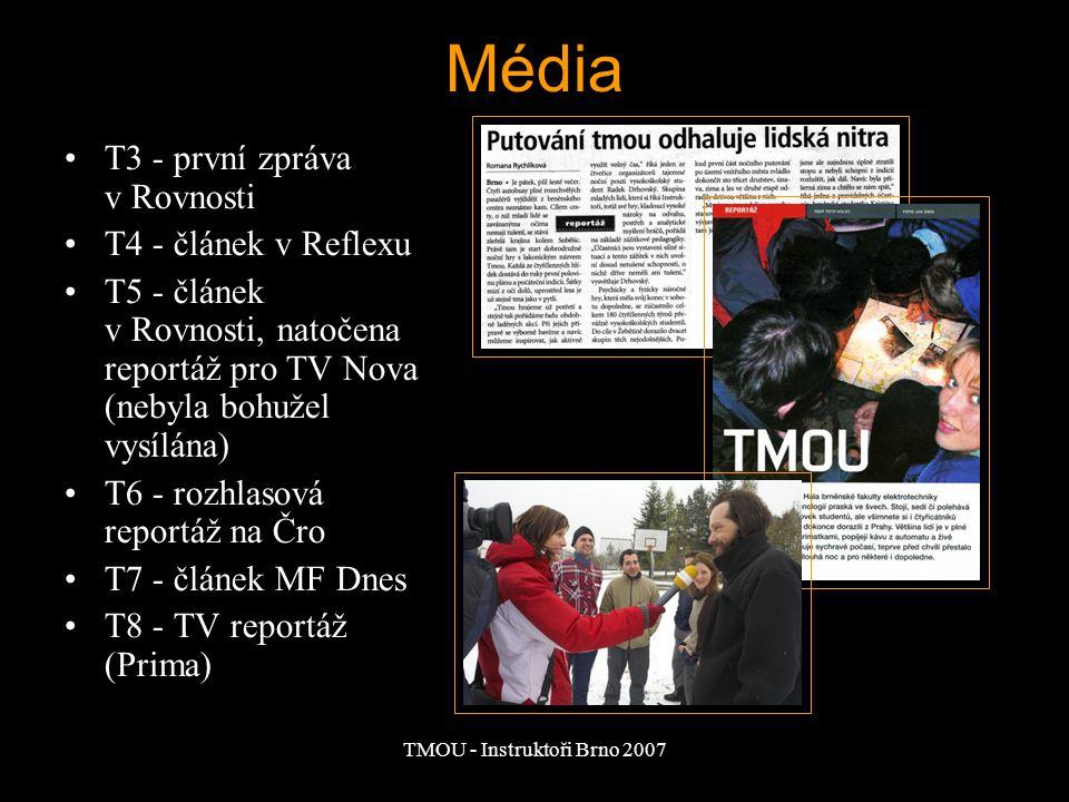TMOU - Instruktoři Brno 2007 Média T3 - první zpráva v Rovnosti T4 - článek v Reflexu T5 - článek v Rovnosti, natočena reportáž pro TV Nova (nebyla bo