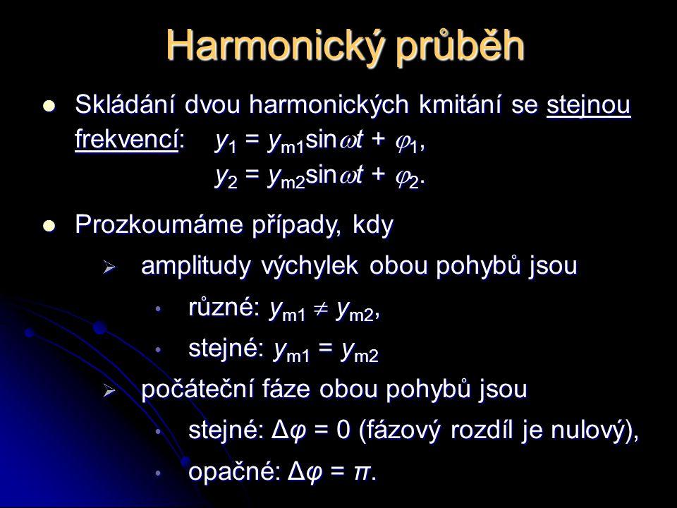 Harmonický průběh Skládání dvou harmonických kmitání se stejnou frekvencí:y 1 = y m1 sin  t +  1, Skládání dvou harmonických kmitání se stejnou frek