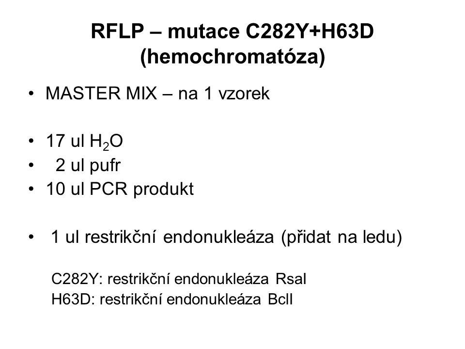 RFLP – mutace C282Y+H63D (hemochromatóza) MASTER MIX – na 1 vzorek 17 ul H 2 O 2 ul pufr 10 ul PCR produkt 1 ul restrikční endonukleáza (přidat na ledu) C282Y: restrikční endonukleáza RsaI H63D: restrikční endonukleáza BclI
