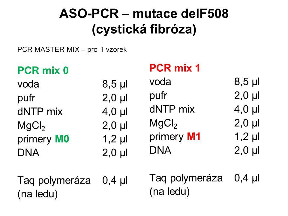 ASO-PCR – mutace delF508 (cystická fibróza) PCR mix 1 voda8,5 µl pufr2,0 µl dNTP mix4,0 µl MgCl 2 2,0 µl primery M11,2 µl DNA2,0 µl Taq polymeráza0,4 µl (na ledu) PCR mix 0 voda8,5 µl pufr2,0 µl dNTP mix4,0 µl MgCl 2 2,0 µl primery M01,2 µl DNA2,0 µl Taq polymeráza0,4 µl (na ledu) PCR MASTER MIX – pro 1 vzorek