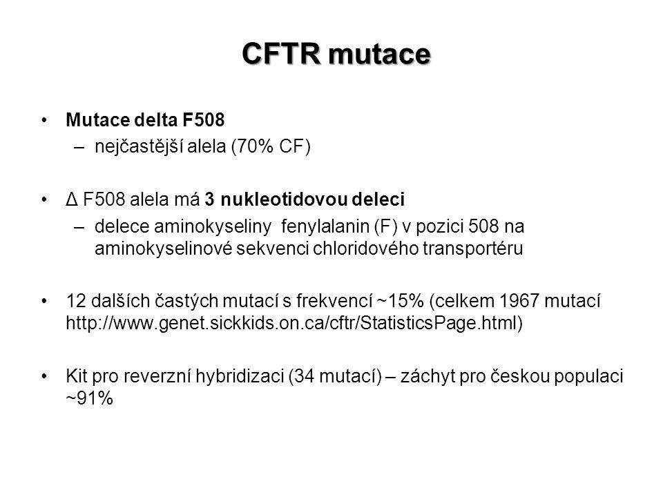 Mutace delta F508 –nejčastější alela (70% CF) Δ F508 alela má 3 nukleotidovou deleci –delece aminokyseliny fenylalanin (F) v pozici 508 na aminokyselinové sekvenci chloridového transportéru 12 dalších častých mutací s frekvencí ~15% (celkem 1967 mutací http://www.genet.sickkids.on.ca/cftr/StatisticsPage.html) Kit pro reverzní hybridizaci (34 mutací) – záchyt pro českou populaci ~91% CFTR mutace