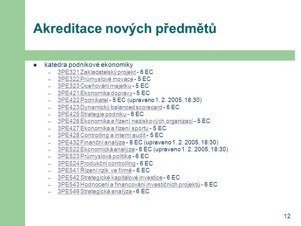 12 Akreditace nových předmětů katedra podnikové ekonomiky – 3PE321 Zakladatelský projekt - 6 EC 3PE321 Zakladatelský projekt – 3PE322 Průmyslové inovace - 5 EC 3PE322 Průmyslové inovace – 3PE323 Oceňování majetku - 5 EC 3PE323 Oceňování majetku – 3PE421 Ekonomika dopravy - 5 EC 3PE421 Ekonomika dopravy – 3PE422 Podnikatel - 5 EC (upraveno 1.