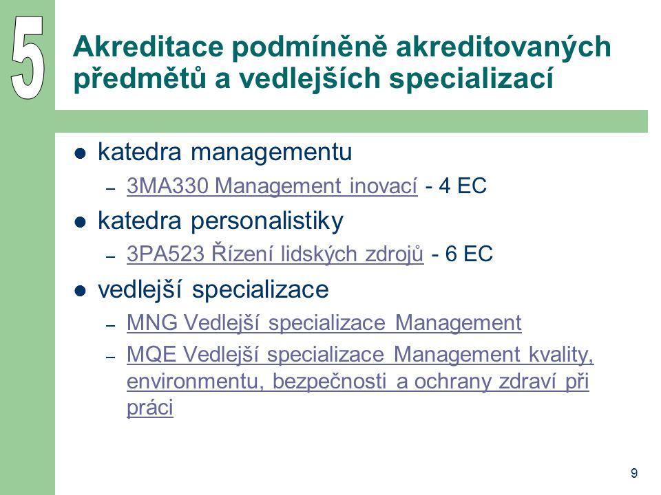 9 Akreditace podmíněně akreditovaných předmětů a vedlejších specializací katedra managementu – 3MA330 Management inovací - 4 EC 3MA330 Management inovací katedra personalistiky – 3PA523 Řízení lidských zdrojů - 6 EC 3PA523 Řízení lidských zdrojů vedlejší specializace – MNG Vedlejší specializace Management MNG Vedlejší specializace Management – MQE Vedlejší specializace Management kvality, environmentu, bezpečnosti a ochrany zdraví při práci MQE Vedlejší specializace Management kvality, environmentu, bezpečnosti a ochrany zdraví při práci