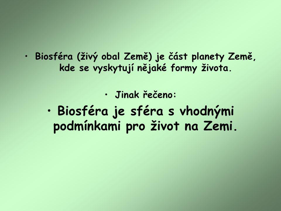 Biosféra (živý obal Země) je část planety Země, kde se vyskytují nějaké formy života.