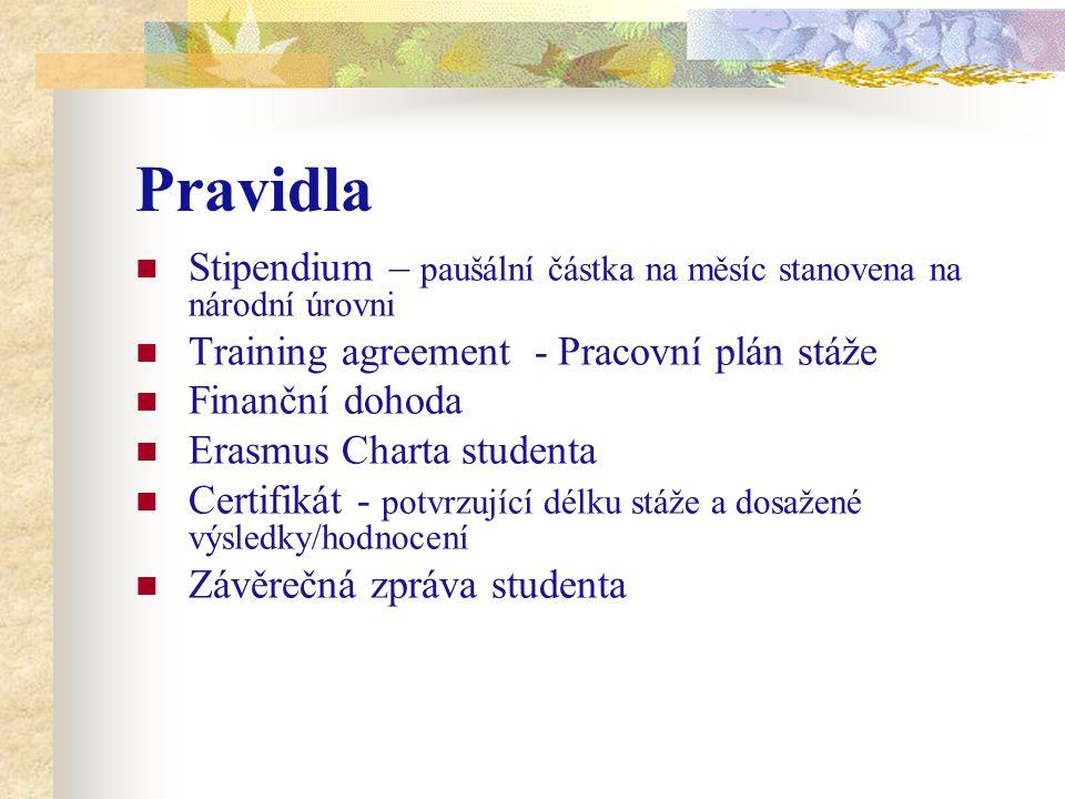 Pravidla Stipendium – paušální částka na měsíc stanovena na národní úrovni Training agreement - Pracovní plán stáže Finanční dohoda Erasmus Charta stu