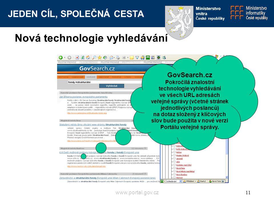 JEDEN CÍL, SPOLEČNÁ CESTA Ministerstvo vnitra České republiky www.portal.gov.cz11 GovSearch.cz Pokročilá znalostní technologie vyhledávání ve všech UR