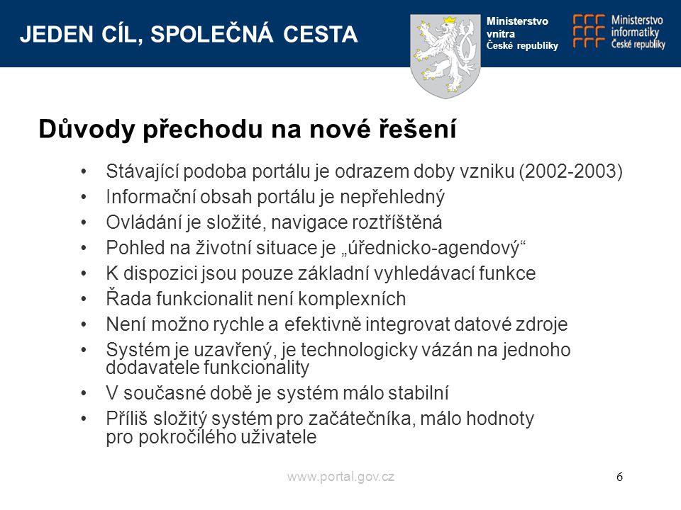 """JEDEN CÍL, SPOLEČNÁ CESTA Ministerstvo vnitra České republiky www.portal.gov.cz6 Důvody přechodu na nové řešení Stávající podoba portálu je odrazem doby vzniku (2002-2003) Informační obsah portálu je nepřehledný Ovládání je složité, navigace roztříštěná Pohled na životní situace je """"úřednicko-agendový K dispozici jsou pouze základní vyhledávací funkce Řada funkcionalit není komplexních Není možno rychle a efektivně integrovat datové zdroje Systém je uzavřený, je technologicky vázán na jednoho dodavatele funkcionality V současné době je systém málo stabilní Příliš složitý systém pro začátečníka, málo hodnoty pro pokročilého uživatele"""