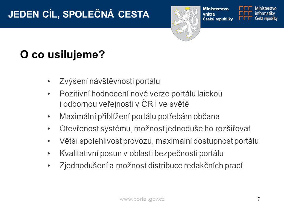 JEDEN CÍL, SPOLEČNÁ CESTA Ministerstvo vnitra České republiky www.portal.gov.cz7 Zvýšení návštěvnosti portálu Pozitivní hodnocení nové verze portálu l
