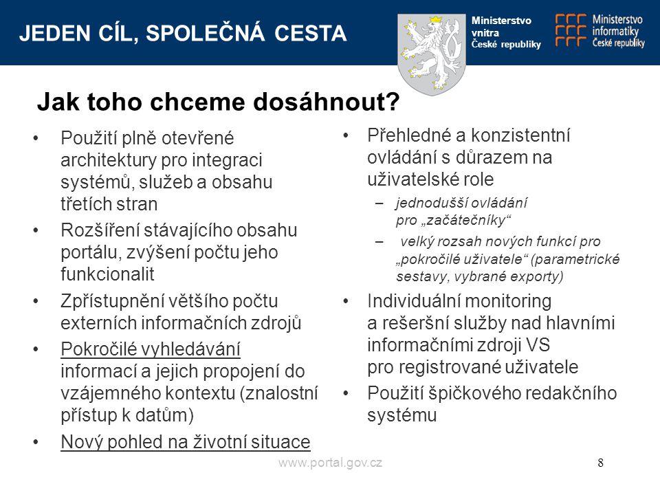 JEDEN CÍL, SPOLEČNÁ CESTA Ministerstvo vnitra České republiky www.portal.gov.cz8 Jak toho chceme dosáhnout? Použití plně otevřené architektury pro int