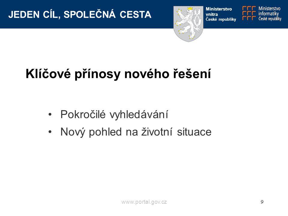 JEDEN CÍL, SPOLEČNÁ CESTA Ministerstvo vnitra České republiky www.portal.gov.cz9 Pokročilé vyhledávání Nový pohled na životní situace Klíčové přínosy