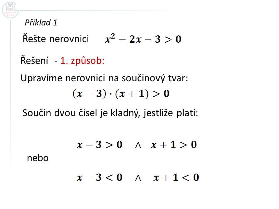 Příklad 1 Řešte nerovnici Řešení - 1. způsob: Upravíme nerovnici na součinový tvar: Součin dvou čísel je kladný, jestliže platí: nebo