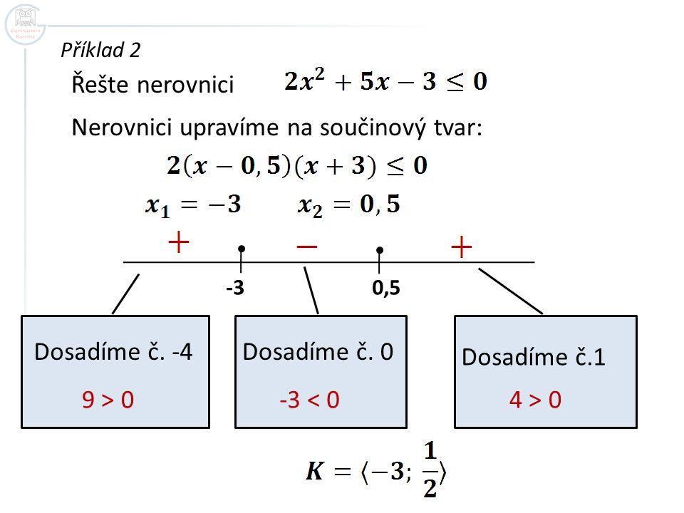 Příklad 2 Řešte nerovnici Nerovnici upravíme na součinový tvar: -3 0,5 Dosadíme č. -4 9 > 0 Dosadíme č. 0 -3 < 0 Dosadíme č.1 4 > 0