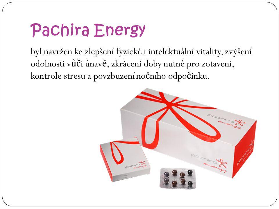 Pachira Energy byl navržen ke zlepšení fyzické i intelektuální vitality, zvýšení odolnosti v ůč i únav ě, zkrácení doby nutné pro zotavení, kontrole stresu a povzbuzení no č ního odpo č inku.