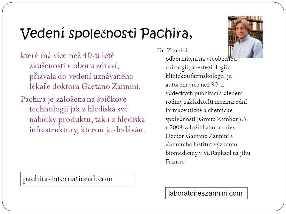Vedení spole č nosti Pachira, které má více než 40-ti leté zkušenosti v oboru zdraví, p ř izvala do vedení uznávaného léka ř e doktora Gaetano Zannini