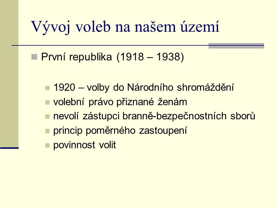 Vývoj voleb na našem území První republika (1918 – 1938) 1920 – volby do Národního shromáždění volební právo přiznané ženám nevolí zástupci branně-bez