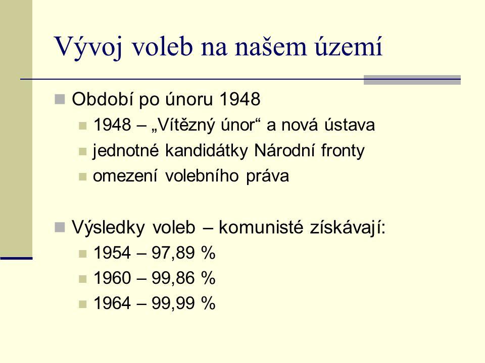 """Vývoj voleb na našem území Období po únoru 1948 1948 – """"Vítězný únor"""" a nová ústava jednotné kandidátky Národní fronty omezení volebního práva Výsledk"""