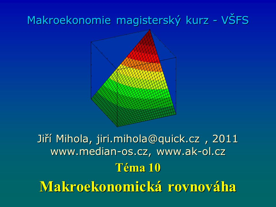 Makroekonomická rovnováha Makroekonomie magisterský kurz - VŠFS Jiří Mihola, jiri.mihola@quick.cz, 2011 www.median-os.cz, www.ak-ol.cz Téma 10