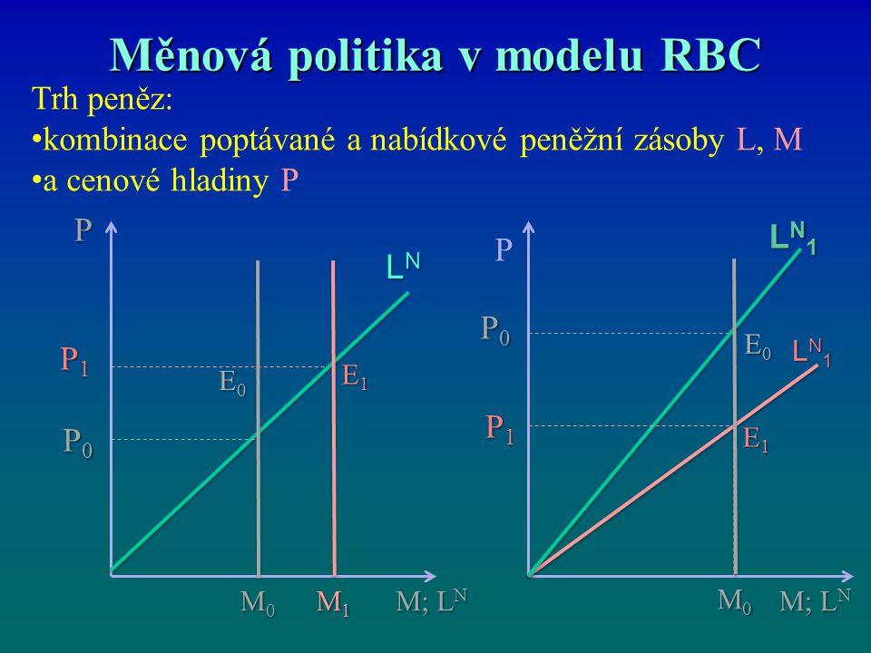 Měnová politika v modelu RBC P E0E0E0E0 LNLNLNLN P0P0P0P0 LN1LN1LN1LN1 E1E1E1E1 P1P1P1P1 P0P0P0P0 P1P1P1P1 P E1E1E1E1 E0E0E0E0 M0M0M0M0 M1M1M1M1 M; L