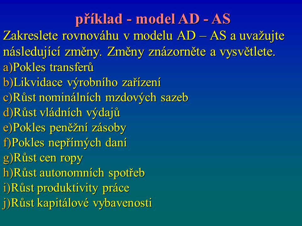 Zakreslete rovnováhu v modelu AD – AS a uvažujte následující změny. Změny znázorněte a vysvětlete. a)Pokles transferů b)Likvidace výrobního zařízení c