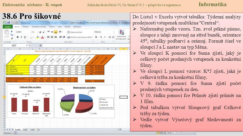 38.7 CLIL – MS Excel Elektronická učebnice - II.