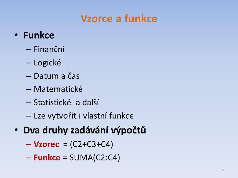 Vzorce a funkce Funkce – Finanční – Logické – Datum a čas – Matematické – Statistické a další – Lze vytvořit i vlastní funkce Dva druhy zadávání výpočtů – Vzorec = (C2+C3+C4) – Funkce = SUMA(C2:C4) 2