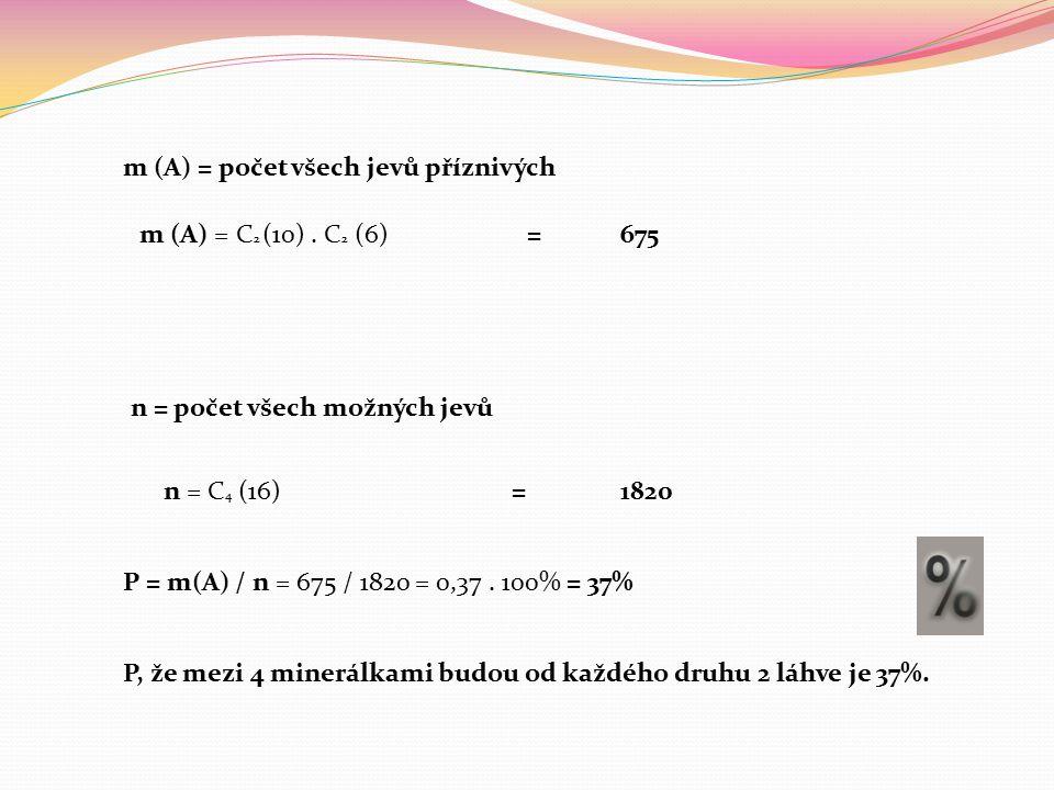 m (A) = počet všech jevů příznivých m (A) = C 2 (10).