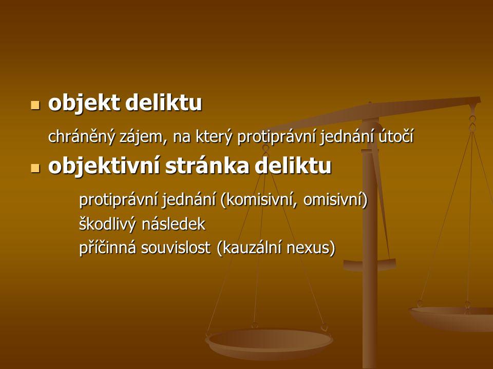 objekt deliktu objekt deliktu chráněný zájem, na který protiprávní jednání útočí objektivní stránka deliktu objektivní stránka deliktu protiprávní jednání (komisivní, omisivní) škodlivý následek příčinná souvislost (kauzální nexus)