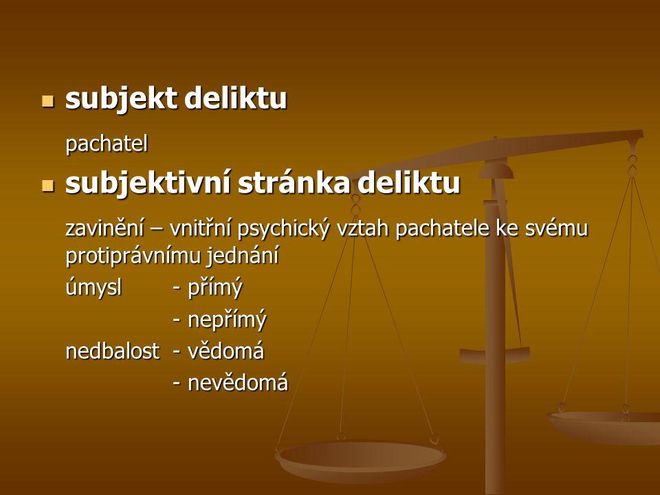 subjekt deliktu subjekt deliktupachatel subjektivní stránka deliktu subjektivní stránka deliktu zavinění – vnitřní psychický vztah pachatele ke svému protiprávnímu jednání úmysl - přímý - nepřímý nedbalost- vědomá - nevědomá