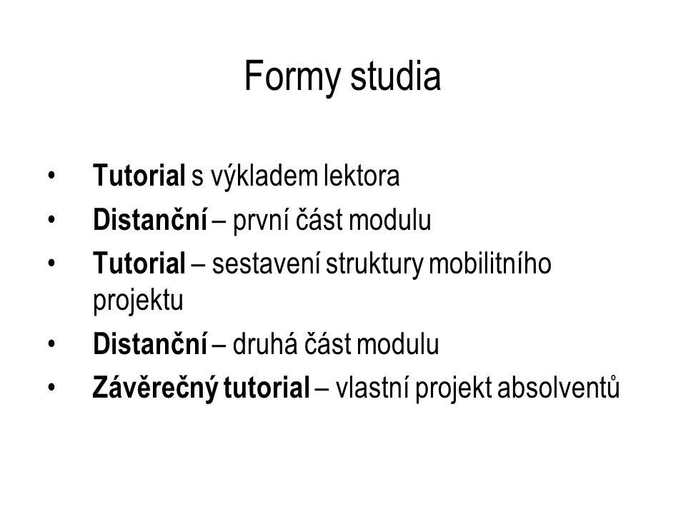 Formy studia Tutorial s výkladem lektora Distanční – první část modulu Tutorial – sestavení struktury mobilitního projektu Distanční – druhá část modulu Závěrečný tutorial – vlastní projekt absolventů