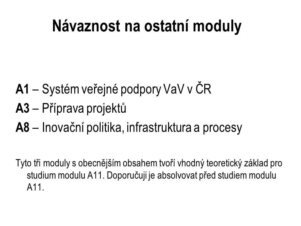 Návaznost na ostatní moduly A1 – Systém veřejné podpory VaV v ČR A3 – Příprava projektů A8 – Inovační politika, infrastruktura a procesy Tyto tři moduly s obecnějším obsahem tvoří vhodný teoretický základ pro studium modulu A11.