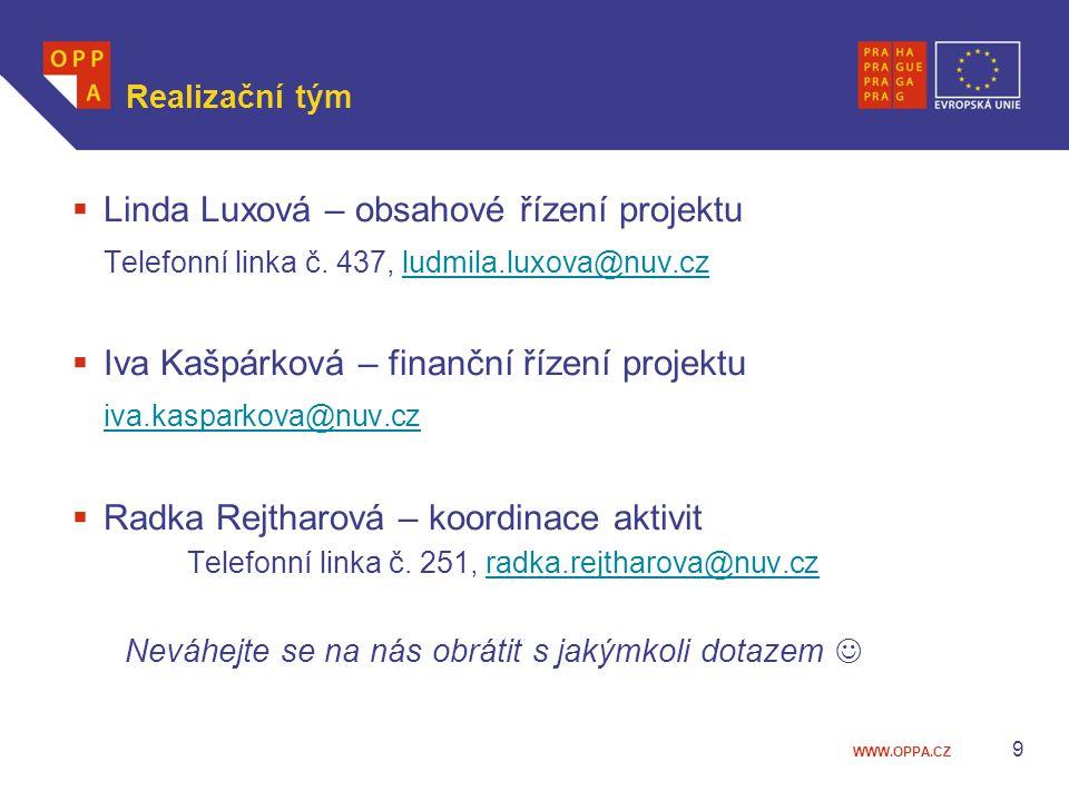WWW.OPPA.CZ Realizační tým  Linda Luxová – obsahové řízení projektu Telefonní linka č.