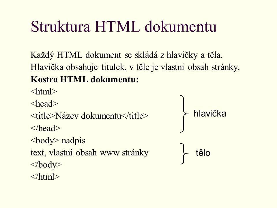Struktura HTML dokumentu Každý HTML dokument se skládá z hlavičky a těla.