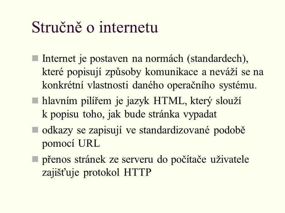 Stručně o internetu Internet je postaven na normách (standardech), které popisují způsoby komunikace a neváží se na konkrétní vlastnosti daného operačního systému.