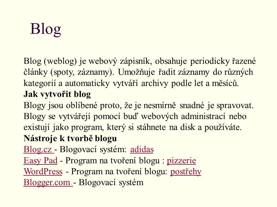 Blog Blog (weblog) je webový zápisník, obsahuje periodicky řazené články (spoty, záznamy).