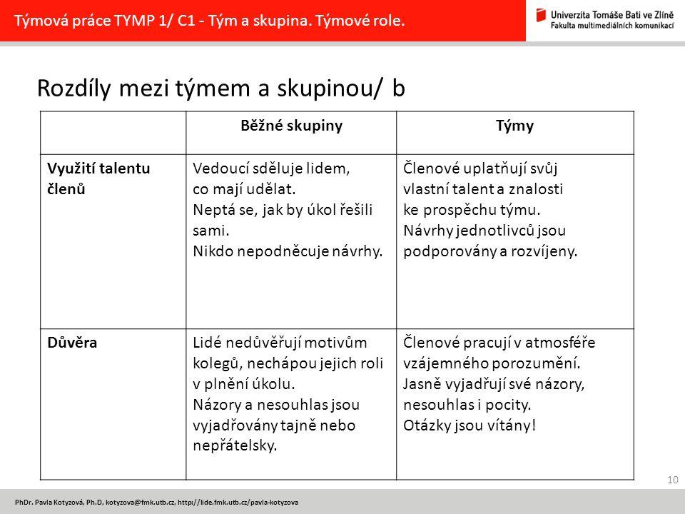 10 PhDr. Pavla Kotyzová, Ph.D, kotyzova@fmk.utb.cz, http://lide.fmk.utb.cz/pavla-kotyzova Rozdíly mezi týmem a skupinou/ b Týmová práce TYMP 1/ C1 - T