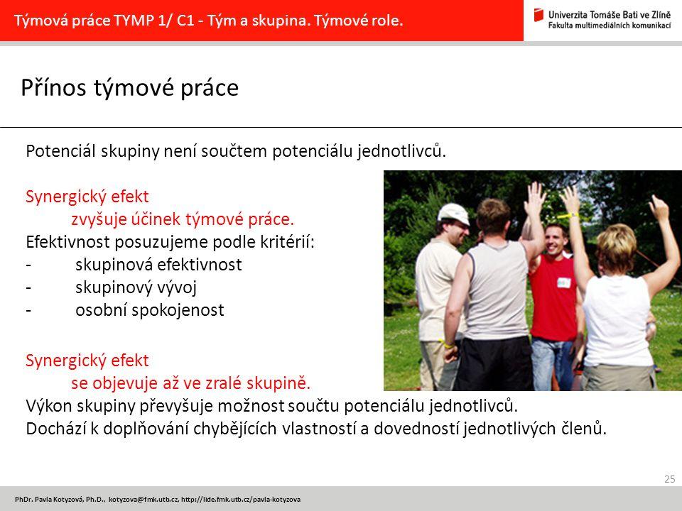 25 PhDr. Pavla Kotyzová, Ph.D., kotyzova@fmk.utb.cz, http://lide.fmk.utb.cz/pavla-kotyzova Přínos týmové práce Týmová práce TYMP 1/ C1 - Tým a skupina