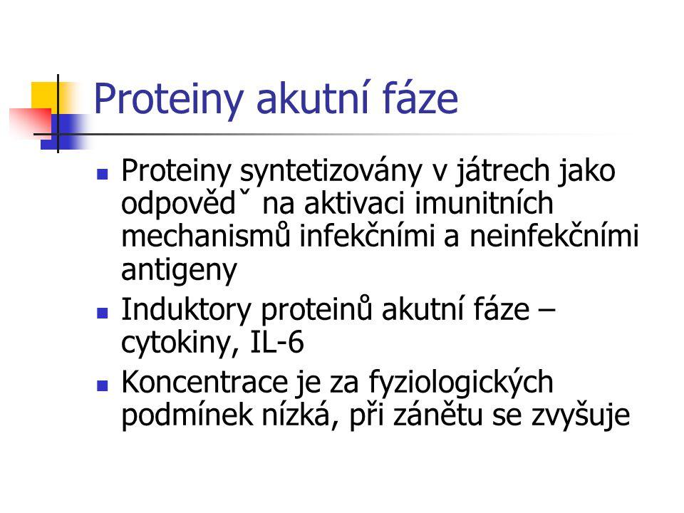 Proteiny akutní fáze Proteiny syntetizovány v játrech jako odpovědˇ na aktivaci imunitních mechanismů infekčními a neinfekčními antigeny Induktory proteinů akutní fáze – cytokiny, IL-6 Koncentrace je za fyziologických podmínek nízká, při zánětu se zvyšuje