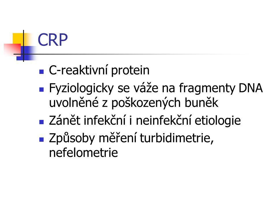 CRP C-reaktivní protein Fyziologicky se váže na fragmenty DNA uvolněné z poškozených buněk Zánět infekční i neinfekční etiologie Způsoby měření turbidimetrie, nefelometrie