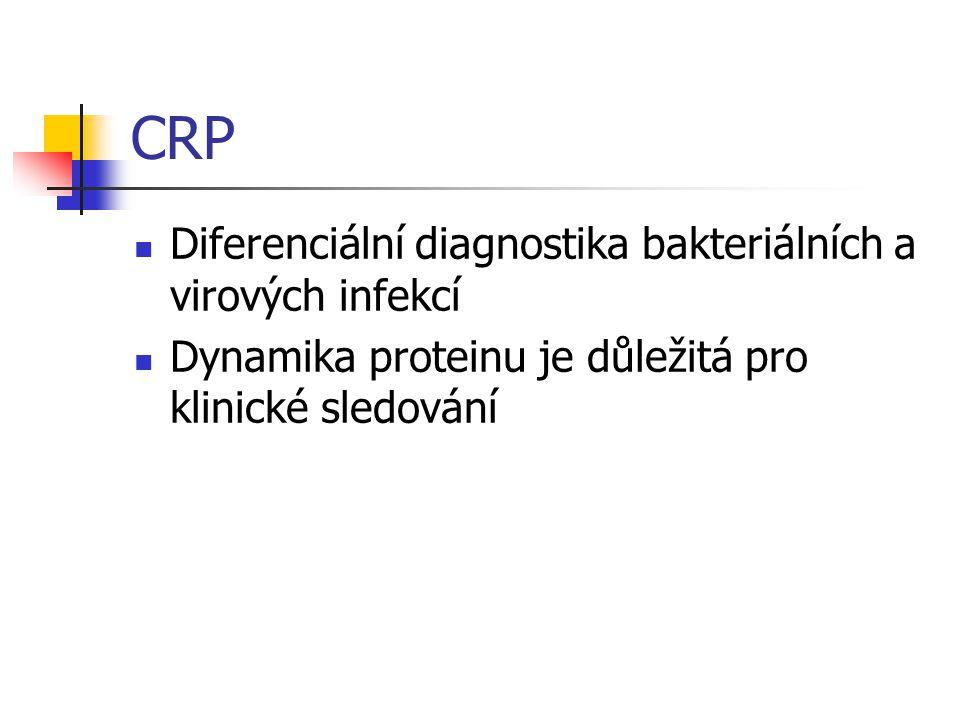 CRP Diferenciální diagnostika bakteriálních a virových infekcí Dynamika proteinu je důležitá pro klinické sledování