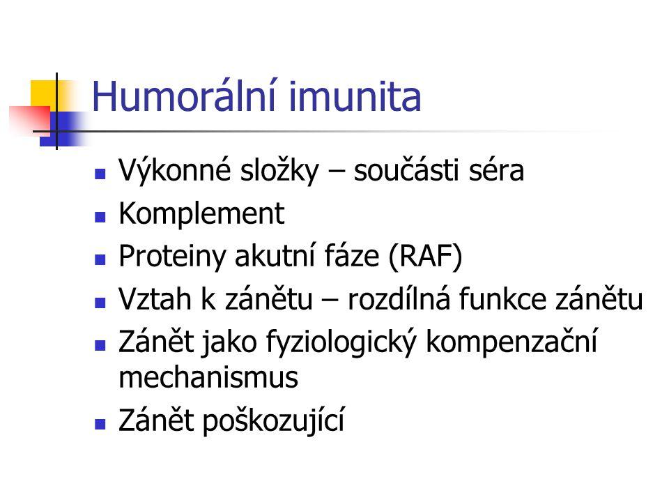 Humorální imunita Výkonné složky – součásti séra Komplement Proteiny akutní fáze (RAF) Vztah k zánětu – rozdílná funkce zánětu Zánět jako fyziologický kompenzační mechanismus Zánět poškozující