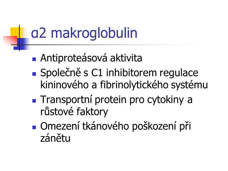 α2 makroglobulin Antiproteásová aktivita Společně s C1 inhibitorem regulace kininového a fibrinolytického systému Transportní protein pro cytokiny a růstové faktory Omezení tkánového poškození při zánětu