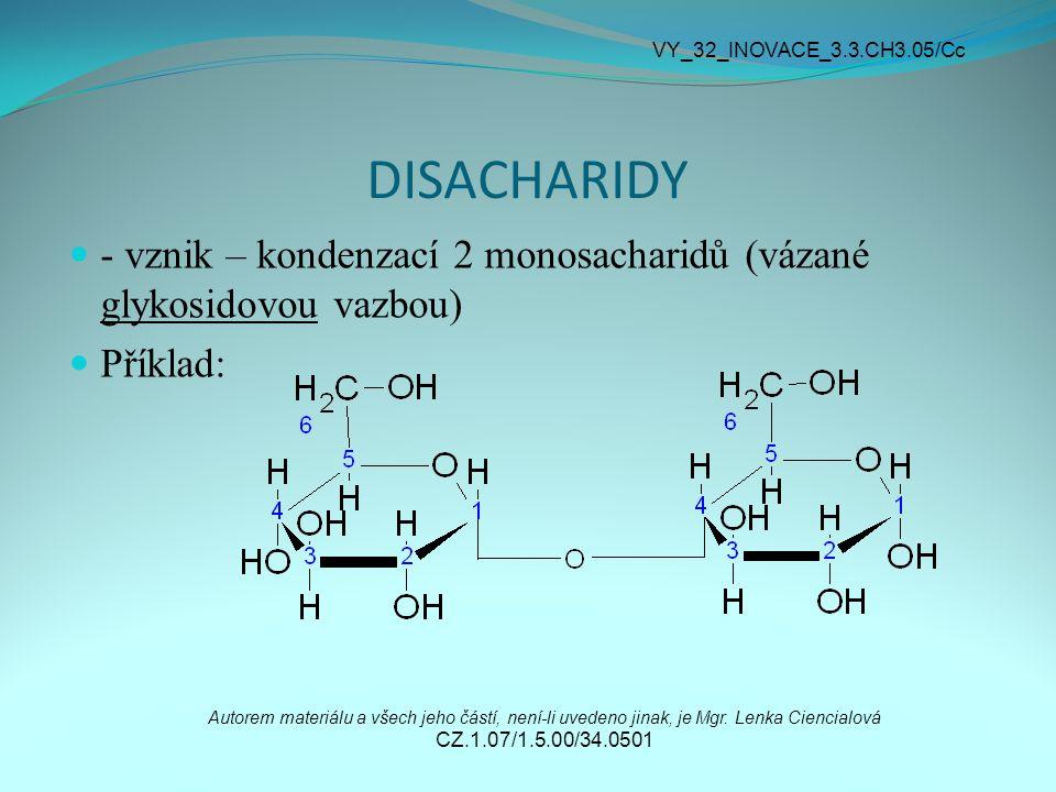 DISACHARIDY - vznik – kondenzací 2 monosacharidů (vázané glykosidovou vazbou) Příklad: Autorem materiálu a všech jeho částí, není-li uvedeno jinak, je Mgr.