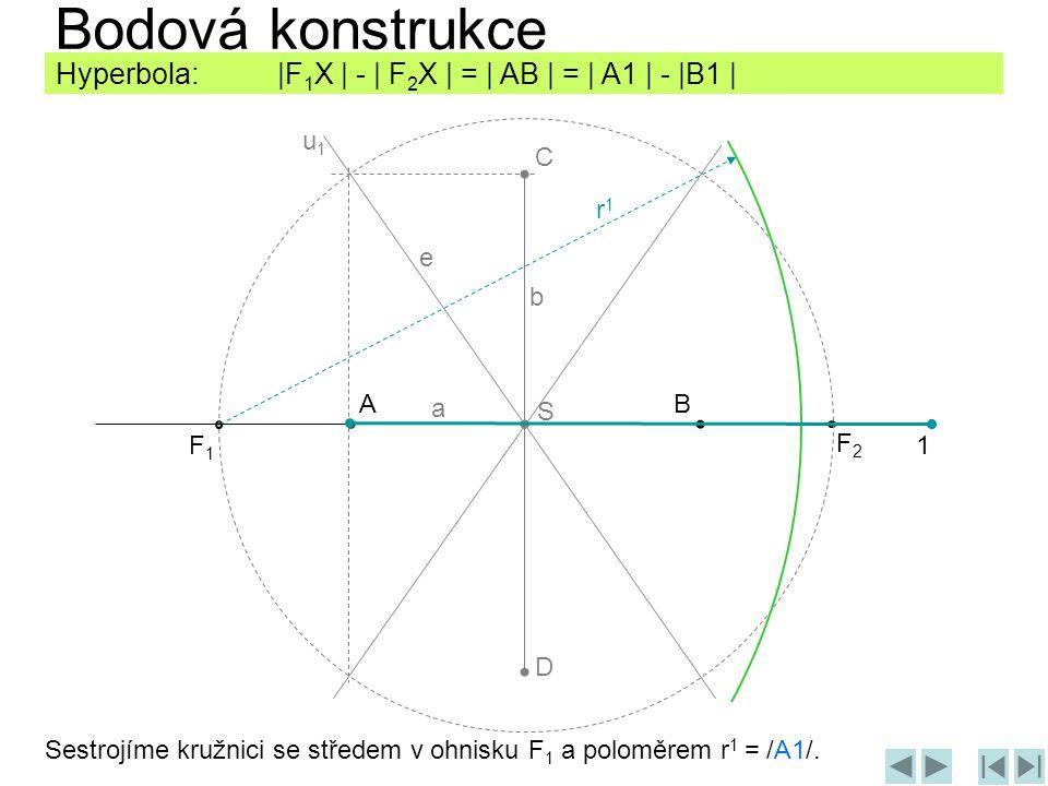 Sestrojíme kružnici se středem v ohnisku F 1 a poloměrem r 1 = /A1/. Bodová konstrukce AB C D F1F1 F2F2 1 Hyperbola: |F 1 X | - | F 2 X | = | AB | = |