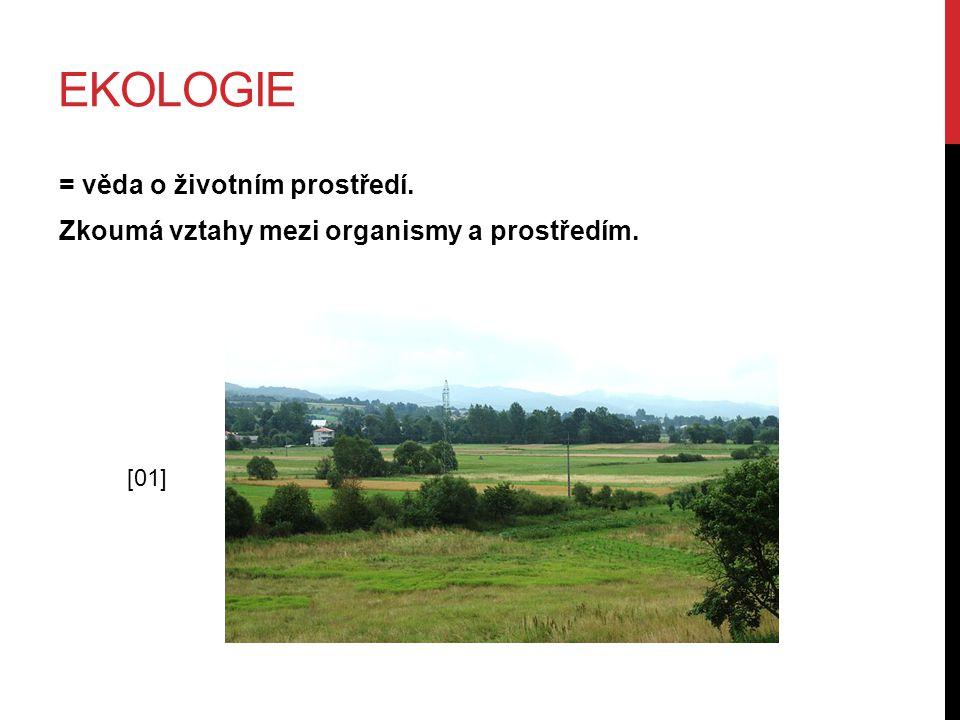 EKOLOGIE = věda o životním prostředí. Zkoumá vztahy mezi organismy a prostředím. [01]