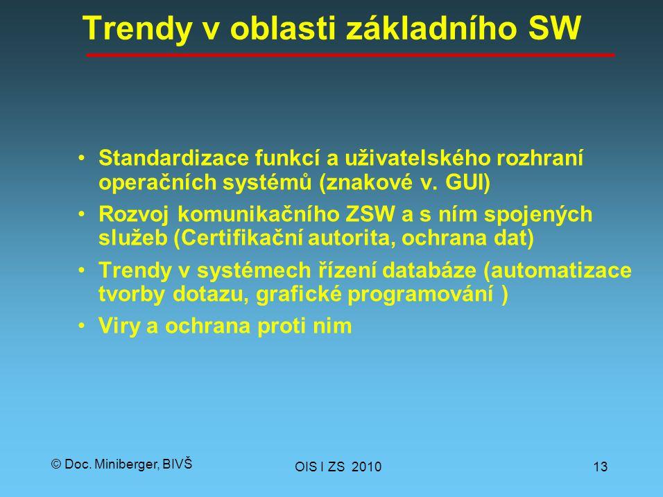 © Doc. Miniberger, BIVŠ Trendy v oblasti základního SW Standardizace funkcí a uživatelského rozhraní operačních systémů (znakové v. GUI) Rozvoj komuni