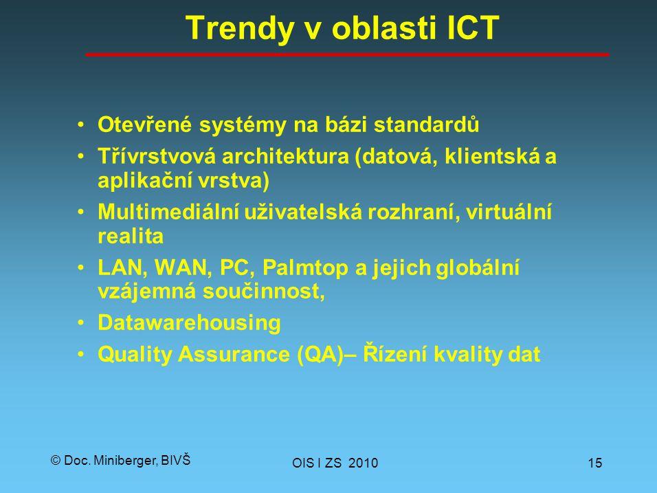 © Doc. Miniberger, BIVŠ Trendy v oblasti ICT Otevřené systémy na bázi standardů Třívrstvová architektura (datová, klientská a aplikační vrstva) Multim