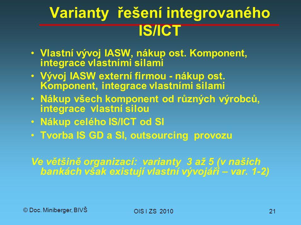 © Doc. Miniberger, BIVŠ Varianty řešení integrovaného IS/ICT Vlastní vývoj IASW, nákup ost.