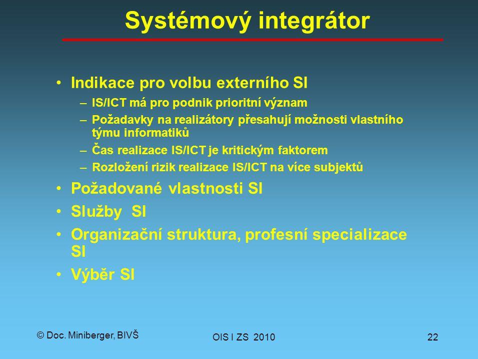 © Doc. Miniberger, BIVŠ Systémový integrátor Indikace pro volbu externího SI –IS/ICT má pro podnik prioritní význam –Požadavky na realizátory přesahuj