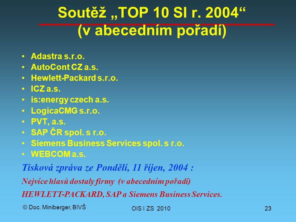 "© Doc. Miniberger, BIVŠ Soutěž ""TOP 10 SI r. 2004"" (v abecedním pořadí) Adastra s.r.o. AutoCont CZ a.s. Hewlett-Packard s.r.o. ICZ a.s. is:energy czec"
