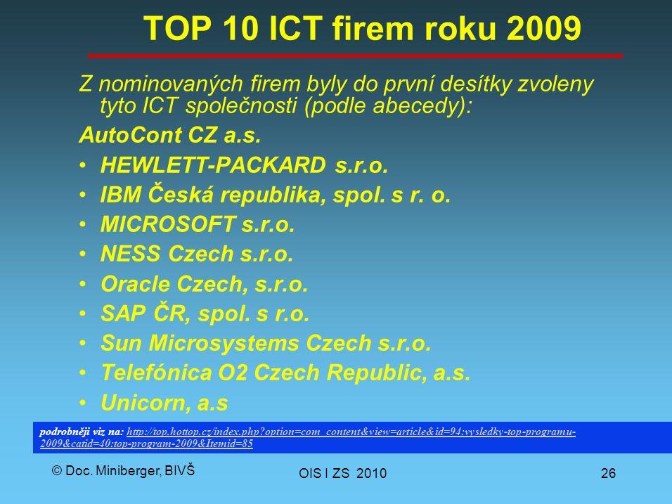 © Doc. Miniberger, BIVŠ TOP 10 ICT firem roku 2009 Z nominovaných firem byly do první desítky zvoleny tyto ICT společnosti (podle abecedy): AutoCont C